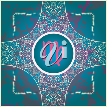 zodiac sign Virgo. What is karma? Vector circle with zodiac signs on ornate wallpaper. Oriental mandala motif square lase pattern, like snowflake or mehndi paint. Watercolor elements on background