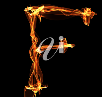 Royalty Free Clipart Image of a Letter F in Fire