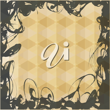 Yellow vector pattern as vintage frame for text