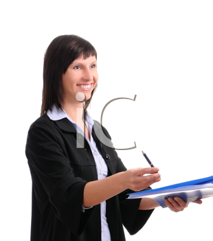 Royalty Free Photo of a Businesswoman Holding a Binder