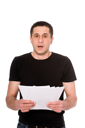 frightened man with letter isolated on white background