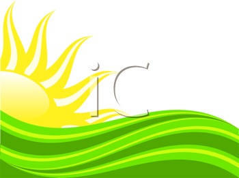 Royalty Free Clipart Image of an Abstract Illustration of a Sun Rising