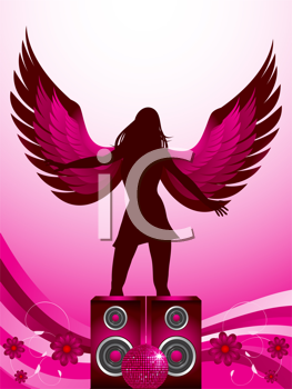 Royalty Free Clipart Image of an Angel Standing on Speakers