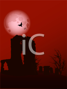 Royalty Free Clipart Image of a Halloween Landscape