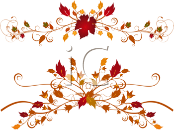 Royalty Free Clipart Image of a Detailed Ornate Autumn Flourishes
