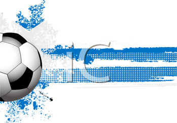 Royalty Free Clipart Image of a Football on a Grunge Scotland Flag With a Halftone Banner