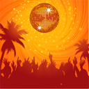 Royalty Free Clipart Image of a Summer Party Scene