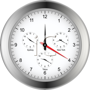 Royalty Free Clipart Image of a Silver Clock Showing Time in London, Sydney, Tokyo and New York