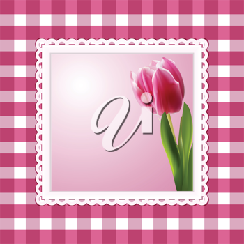 tulip background in a white frame on a pink gingham check background