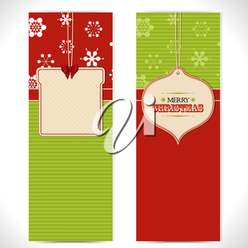 Christmas banners with bauble and gift message labels