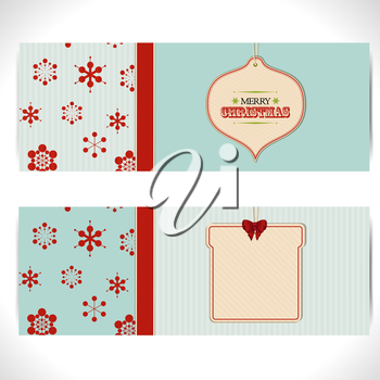Two Christmas Banner with Cardboard Tags and Festive Decorations