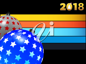 3D Illustration of Blue and White Christmas Baubles with Stars Over Black Background and Coloured Stripes and twenty eighteen in Golden Numbers