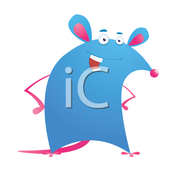 Royalty Free Clipart Image of a Smiling Mouse
