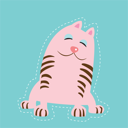 Royalty Free Clipart Image of a Pink Cat