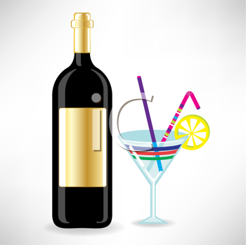 Royalty Free Clipart Image of a Bottle of Wine and a Cocktail