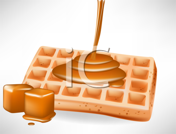 begian waffles with caramel pouring