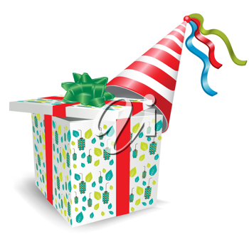 open gift box with party hat on white