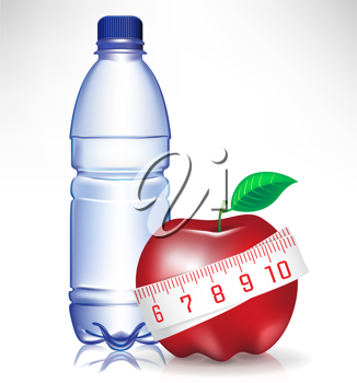 healthy fitness concept; water bottle and apple with measure tape