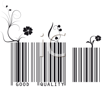 Royalty Free Clipart Image of Floral Bar Codes