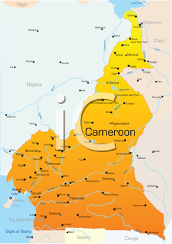 Royalty Free Clipart Image of a Map of Cameroon