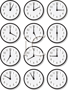Royalty Free Clipart Image of a Set of Clocks
