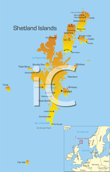 Royalty Free Clipart Image of a Map of the Shetland Islands