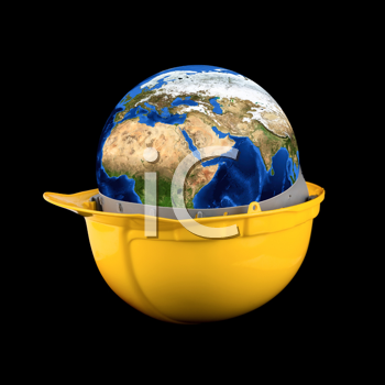Royalty Free Photo of Planet Earth in a Hardhat