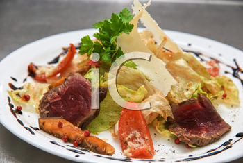 Royalty Free Photo of a Salad With Roast Beef and Vegetables