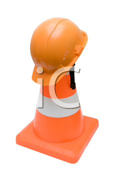Royalty Free Photo of a Hardhat on a Pylon
