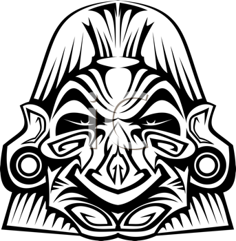 Royalty Free Clipart Image of a Ceremonial Mask