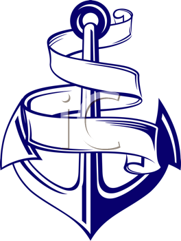 Royalty Free Clipart Image of an Anchor and Ribbon
