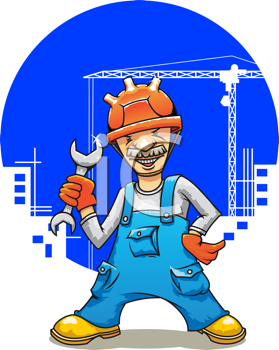Royalty Free Clipart Image of a Man at a Construction Site Holding a Wrench