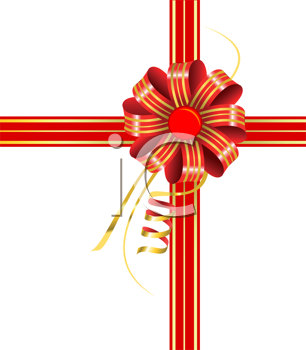 Royalty Free Clipart Image of a Red and Gold Bow