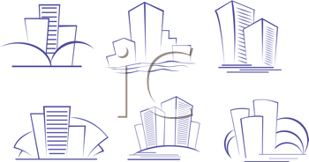Royalty Free Clipart Image of a Set of Buildings