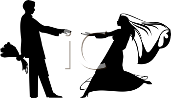 Royalty Free Clipart Image of a Bride and Groom Silhouette