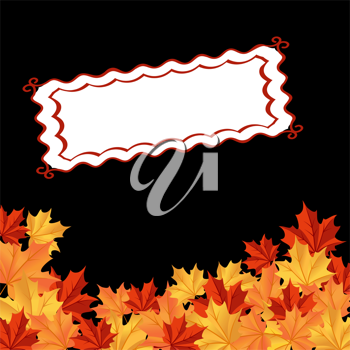 Autumn falling leaves background with frame for seasonal design