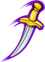 Medieval sharp dagger in cartoon style for tattoo design