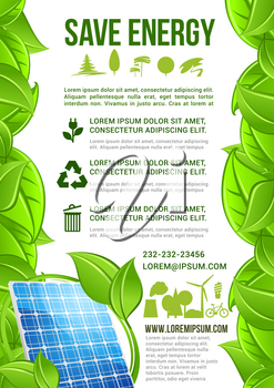 Save Energy vector poster or infographics for nature and ecology conservation with symbols of light bulb, sun solar panel for electricity source, green trees and leaves. Recycling and pollution protec