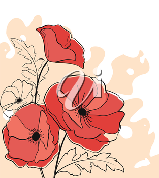 Red poppy flowers on abstract background for design