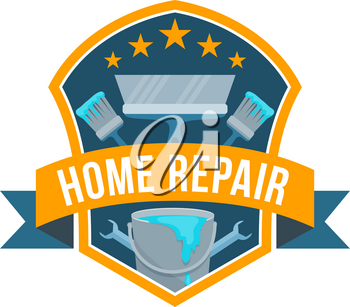 Home repair service or work tools shop icon. Vector isolated badge of house carpentry and renovation instruments of painting brush, plastering spatula and wrench or spanner with stars and ribbon