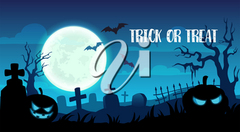 Happy Halloween trick or treat party greeting card. Vector design of pumpkin skull, bats on grave tombstones and full moon in night cemetery background