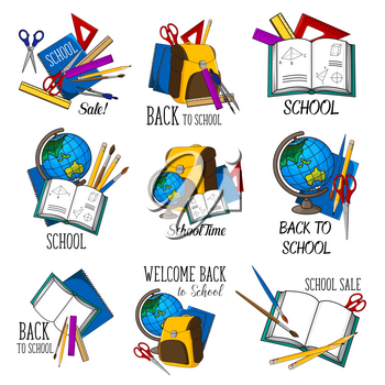 Back to School icons set design of education stationery and lesson supplies. Vector set of school bag, book or microscope and globe map, lesson study notebook or chalkboard and school blackboard