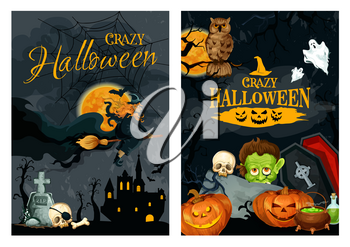 Halloween holiday spooky poster of horror pumpkin lantern, ghost and witch on broom with scary skeleton skull, haunted house and grave, zombie, cauldron and full moon. Halloween party banner design