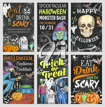 Halloween holiday trick or treat party chalkboard banner. Scary ghost, skull and Halloween pumpkin lantern, bat, spider and horror witch, skeleton, zombie and cemetery grave sketch poster design