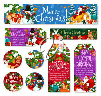Christmas holiday tags, banners and posters for winter season holiday greetings. Vector set of Xmas ornaments on fir tree and holly wreath, Santa gifts bag in New Year deer sleigh