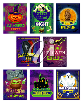 Halloween horror night party invitation card set. Spooky ghost and pumpkin lantern in witch hat, bat, spider and skeleton skull, graveyard, haunted house and creepy moon for Halloween holiday design