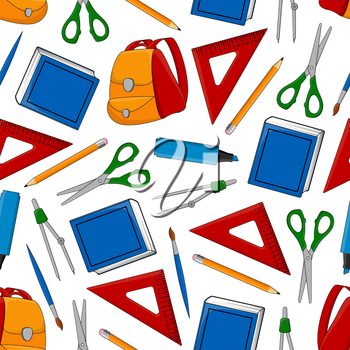 Back to School seamless pattern of education and study supplies and stationery. Vector rucksack or backpack and lesson book, mathematics ruler or scissors and pen with pencil, highlighter and eraser