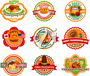 Thanksgiving Day label set of autumn harvest holiday. Pumpkin, fall maple leaf, turkey, pilgrim hat, cornucopia with vegetable and fruit, pie, honey and cranberry round badge with ribbon banner