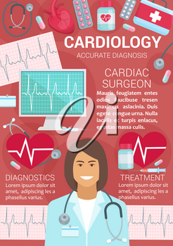 Cardiology medical center with accurate diagnosis poster. Cardiac surgeon in uniform with stethoscope. Equipment for heart diseases prevention and treatment, cardiologist professional doctor vector