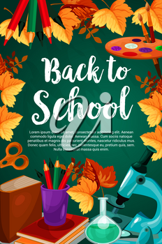 Back to School poster of lesson book, school stationery pen or pencil and ruler on green chalkboard background. Vector geography globe map, eraser or biology microscope and autumn maple leaf